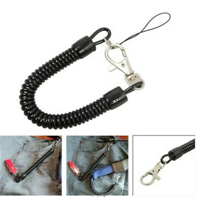 Retractable Spring Coil Keychain Spiral Lanyards Carabiner Clips Hooks Wrist AL