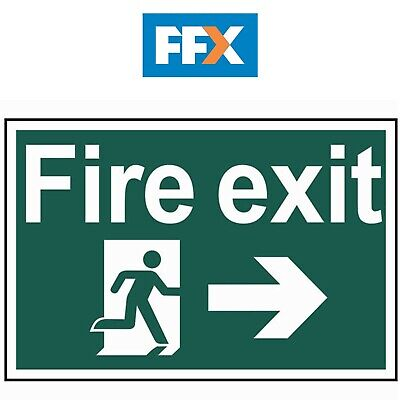 Scan SCA1504 'Fire Exit' Running Man Arrow Right Sign - PVC - 300mm x 200mm
