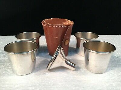 E. & J.B. Nickel Silver 4 Shot Glass Set w/Funnel in Leather Carrying Case