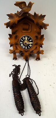Small Wooden Leaf And bIrd Detailed Roman Numeral Style Cuckoo Clock - A27