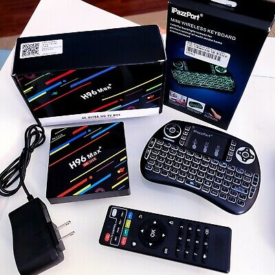 H96 MAX PLUS Android 8.1 Smart TV Box RK3328 4GB 32GB + Ipazzport Keyboard