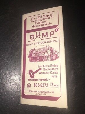 1985 Pocket Sized Map Of Boylston Mass.