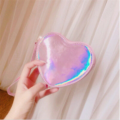 Women Handbag Wallet Heart Shaped Laser Hologram Pouch Holographic Coin Purse AL