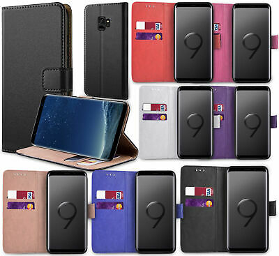 For Samsung Galaxy S9,S9 Plus Case Luxury Genuine Real Leather Flip Wallet Cover