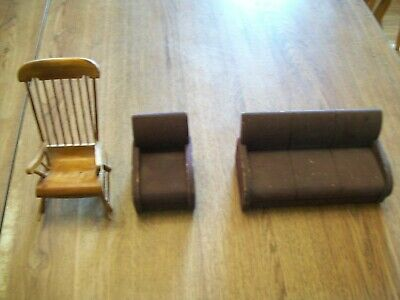 Vintage Wooden Doll House Furniture--Couch--Chair--Windsor Rocking Chair