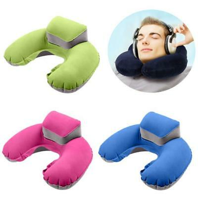 Foldable U-shaped Neck Support Pillow Inflatable Cushion Travel Air Plane AL