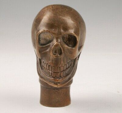 Rare Chinese Bronze Hand-Carved Skull Statue Walking Stick Head Old Collection