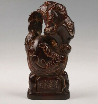 Precious Chinese Yak Horn Handmade Carving Toad Statue Old Collection Decoration