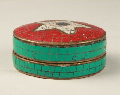 Chinese Turquoise Tibetan Silver Jewelry Box Old Handmade Crafts Seal Gift  M