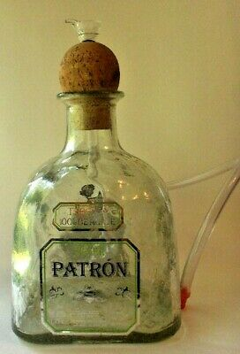 """""""Patron"""" Heavy Glass Water Pipe with Hose/Hand-made with glass bowl and downtube"""