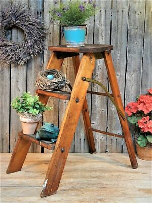 Antique Primitive Old Wood 3 Step Stool Ladder Rustic Farm Barn Garden Display
