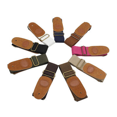 Adjustable Cotton Strap Leather Ends for Electric Acoustic Guitar Bass Webbing