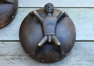 Large Unique Tribal Lidded Frog Bowl With A Male Human Base