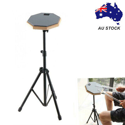 """8"""" Inch Drum Rubber Silencer Practice Mute Pad Adjustable Drum Steel Stand Gray"""