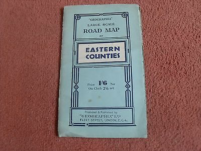 old large scale road map of eastern counties price 1/6 net