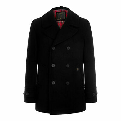 Mens Merc London Black Doyle Vintage Melton Wool Peacoat