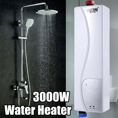 3KW Mini Tankless Electric Shower Instant Kitchen Bathroom Hot Water Heater UK