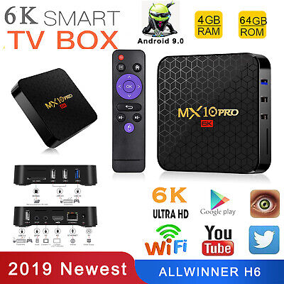 MX10 Pro Android 9.0 6K Smart TV Box WIFI HDMI Set Top Box 3D 4+64Go Support TF