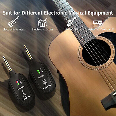Guitar Wireless System Transmitter Receiver UHF A8 Wireless Rechargeable Black