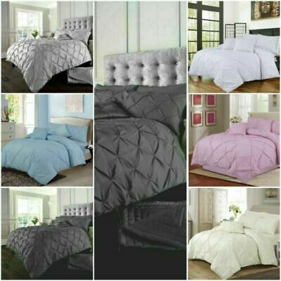 Pintuck Quilt Duvet Cover Bedding Set Single Double King Sizes With Pillowcases