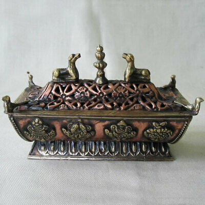 R705 Artistic Tibetan Pagoda Shape copper Incense Burner Hand Crafted In Nepal
