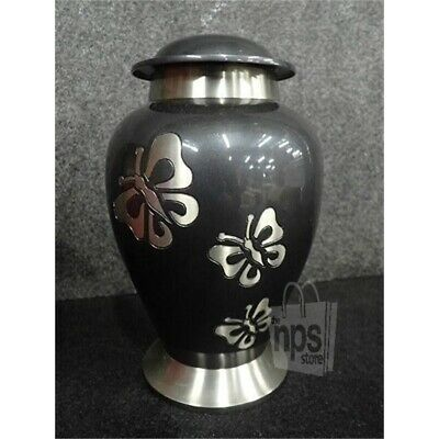 LoveUrns A240 Butterfly Tribute Brass Cremation Urn, Dark Gray, Adult Standard