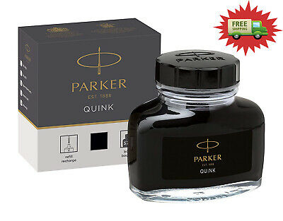 PARKER QUINK Fountain Pen Ink Bottle Quick Drying Smooth Writing, Black, 57 ml
