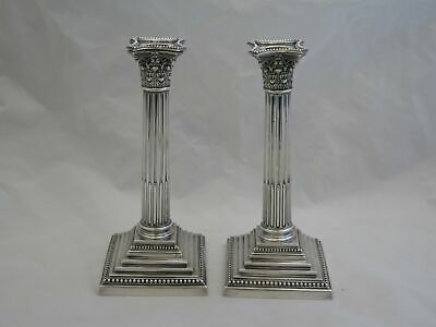 "Pair of Awesome Antique English Sterling Silver 9.5"" Tall Column Candlesticks"