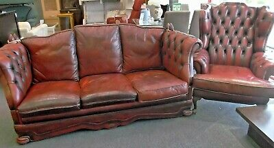 DELLBROOK Chesterfield Oxblood Red 3-Seater Sofa & Armchair 2-Piece Suite - W66