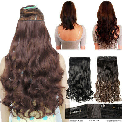 Extra THICK One Piece Real Clip In as Human Hair Extensions 3/4 Full Head Brown
