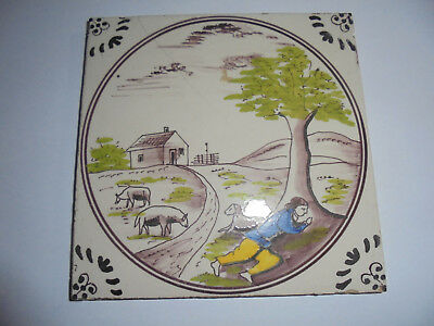 28084b Kachel Fliese tile very good Landschaft aus Fliesentisch 1930 13x13cm