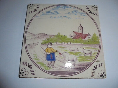 28084a Kachel Fliese tile very good Landschaft aus Fliesentisch 1930 13x13cm