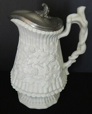 Wm Ridgeway & Sons Parian Portmeirion Bamboo Ivy Large LIdded Pitcher or Syrup