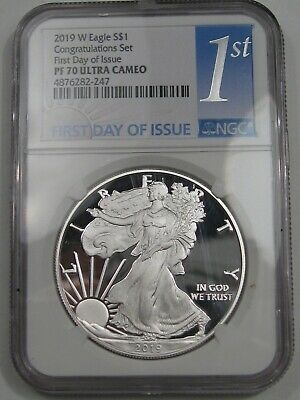 2019-w Proof Silver American Eagle. NGC PF70 UCAM Congrats Set 1st Day Issue.