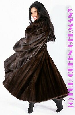 LONG SUPER FEMALE DARK BROWN MINK FUR COAT A-LINE w. wide sleeves class of saga