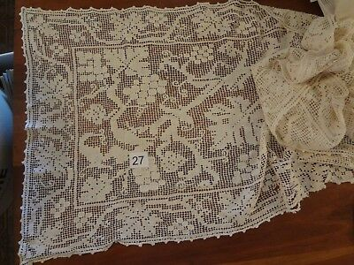 "Vintage Antique Filet Lace figural runner fabric yardage handmade 18 "" x 2.5 yds"