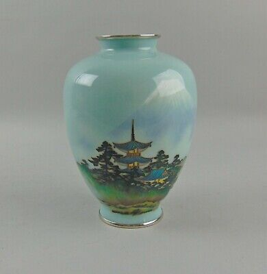 Vintage Japanese Wired & Wireless Cloisonne Vase Mt Fuji Scene on Silver Mint!