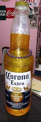 "CORONA EXTRA 30"" INFLATABLE BLOW-UP BEER BOTTLE w/MARDI GRAS BEADS * MAKE OFFER"