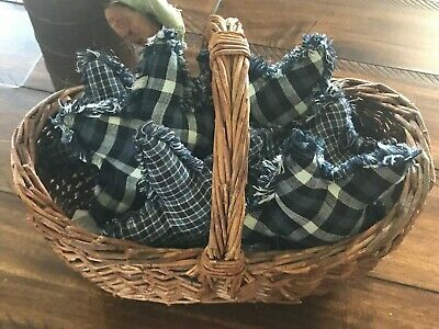 Farmhouse Plaid Ornies Bowl Fillers PrImITive Stars Navy Light Blue Stars