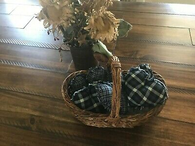 New Farmhouse Plaid Ornies Bowl Fillers PrImITive Stars Navy Light Blue Hearts