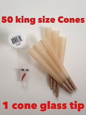 RAW Classic King Size Authentic Pre-Rolled Cones(50 Pack)+raw Cone BRO Glass Tip