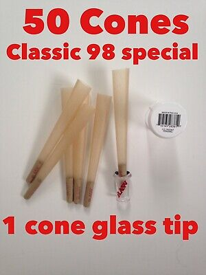 RAW Classic 98 special Size Pre-Rolled Cones(50 Pack)+raw Cone BRO Glass Tip