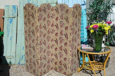 Antique Edwardian Screen Room Divider Superb Arts And Crafts Fabric Rustic Chic