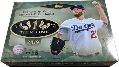 Topps 2019 Tier One Baseball Factory Sealed Hobby Card Box 2 Autograph & 1 Relic