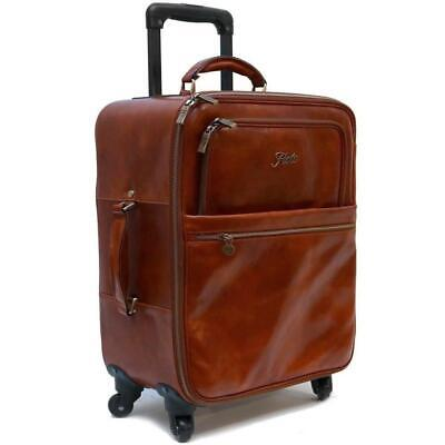 Leather Rolling Luggage Trolley Wheelie Travel Duffle Bag Carryon (4422M)