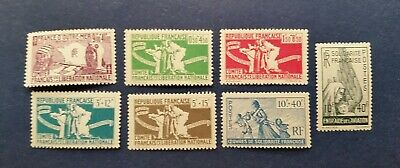 French Colonies Stamps, Scott B2-B8 Mint and Hinged