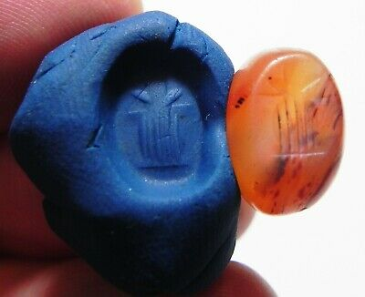 ZURQIEH - as12472- ANCIENT SASSANIAN CARNELIAN SEAL. FIRE ALTAR. 400 - 500 A.D