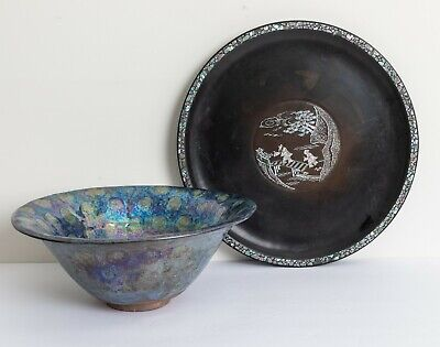 A Japanese Antique/Vintage Big Bowl&Mother of Pearl Inlaid Wood Tray