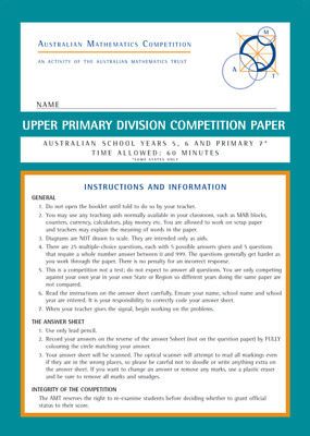 Australian Mathematics Competition amc 15 papers n solutions upper primary