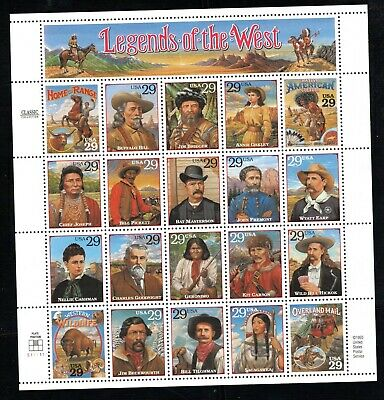 1994 #2869 29c Legends of the West Full Sheet of 20 MNH